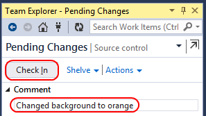 6. Type Changed background to orange as the Comment and click Check In. Now that you ve checked in changes to the main branch, it s time to work on the yellow branch.