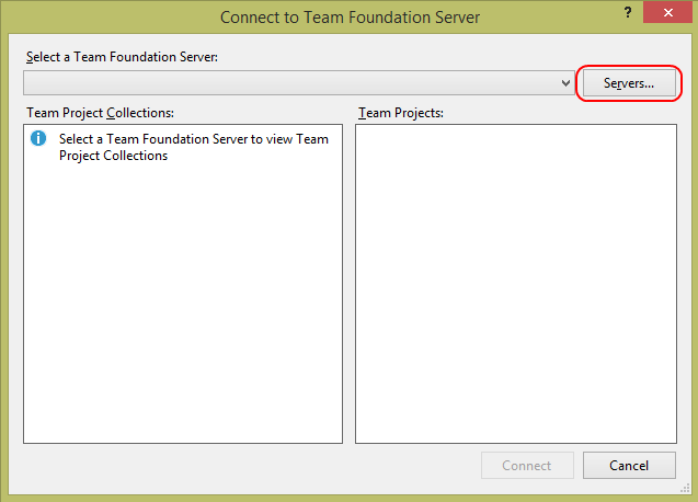 1. Launch Visual Studio 2013. 2. In Team Explorer - Home, click the Connect to Team Projects button. 3.