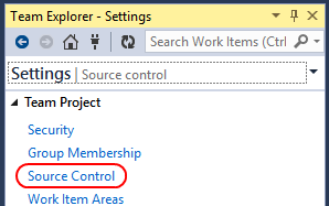 6. Click the Source Control link underneath the Team Project section. 7.