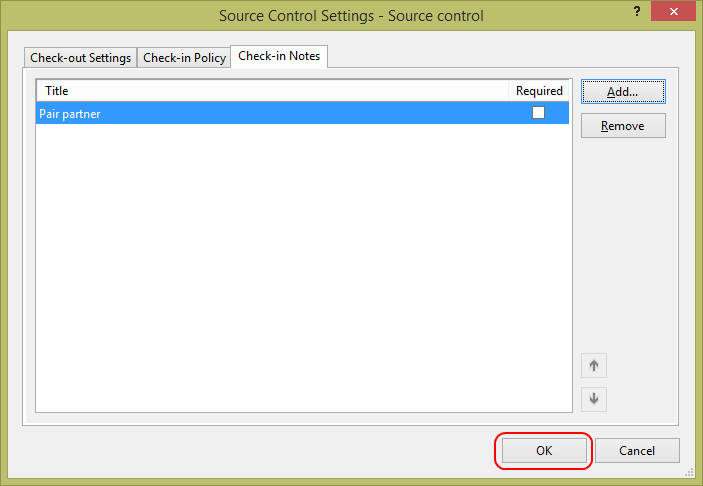 11. Click OK to close the Source Control