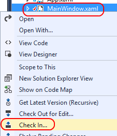 12. Make a minor edit to MainWindow.xaml, such as an additional space in the existing whitespace. The goal is just to invoke a checkout. 13. In Solution Explorer, right-click MainWindow.