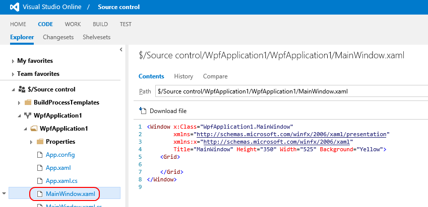 2. From the tab menu near the top, click Code to view the codebase. 3. In the left pane, click WpfApplication1 WpfApplication MainWindow.xaml.