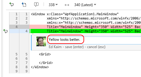 8. Now you can see more details about this recent change. However, you can go a step further and provide a lightweight code comment to annotate the history of the file.