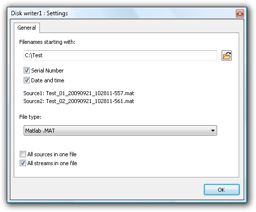 When the first source is connected to the writer, a settings window as depicted in figure 9.2 will show.