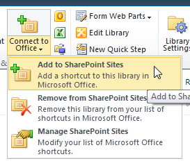 Connect to Office The Connect to Office feature adds a shortcut to your current SharePoint site in your Microsoft Office suite programs (i.e. Word, Excel, PowerPoint, etc.) on your computer. 1.
