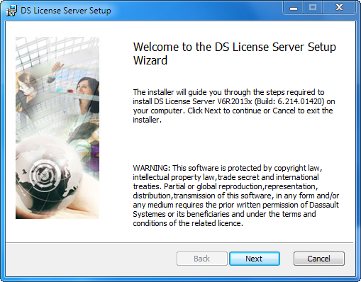 Installing the DS License Server Click the Next button to move to the next step. 3. Select the installation folder.