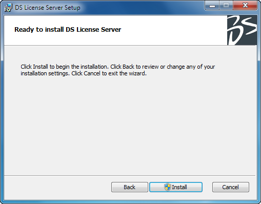 Installing the DS License Server Click the Install button to install the License