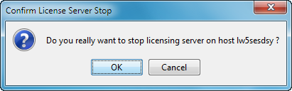 Configuring the DS License Server and Clients 4. Select the Servers - Stop command and select the server name.