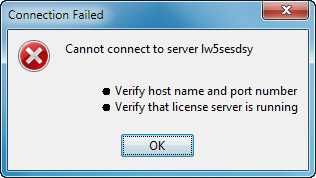 Configuring the DS License Server and Clients If you try to connect to the server, the following dialog box appears: prompting you to check the server hostname and port number, and to check if the