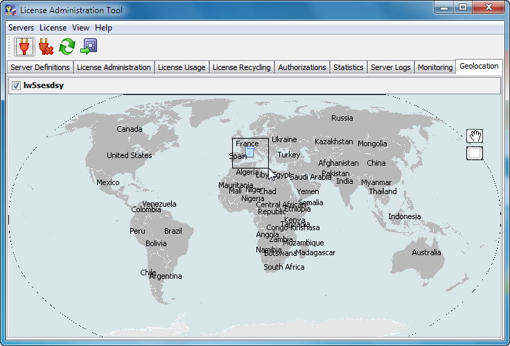 Managing Licenses 4. Zoom in on the world map by left-clicking and dragging a box around the region you are interested in.