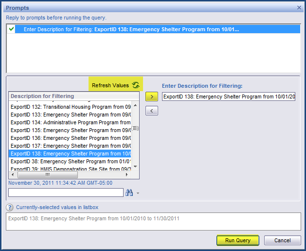 Step 5 As the APR Report is loading, a prompt will appear for the Export ID.