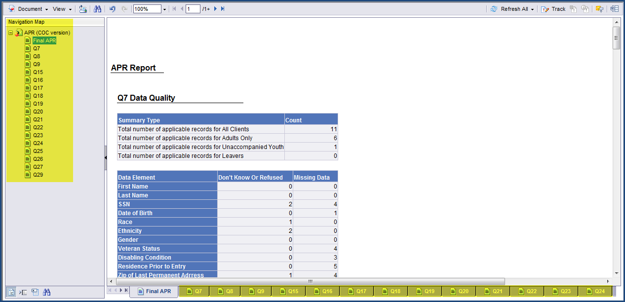 Step 7 The APR has multiple Tabs. Each Tab relates to the HUD defined APR Question.