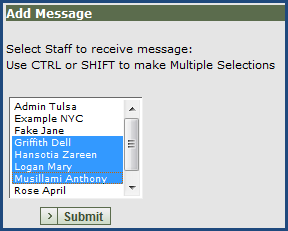 Step 1 - Create Message- You can send messages in ETO to one or more staff members or to an entire program by clicking the Create Message button.