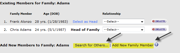 Step 4 - Click on the name of the family you want to work with and you will be directed to a Family Add/Edit Screen.