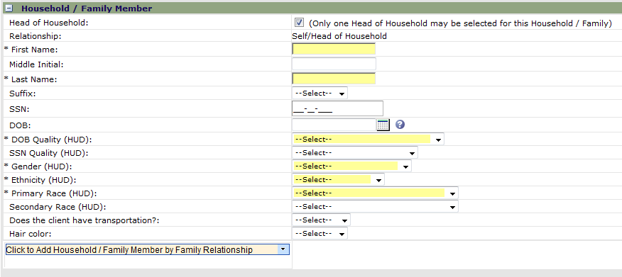 Step 3 - Complete the demographic profile for the participant. If applicable, check the Head of Household box at the top of the page.
