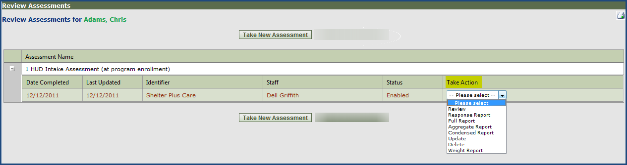 Step 4 - Choose the client that you wish to take the assessment for and click GO next to their name. This will take you to that Participant s Review Assessment Screen.