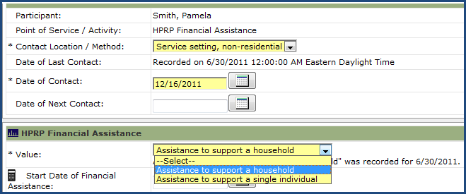 Step 4 On the Record Participant Efforts screen, click the dropdown arrow for Point of Service Elements and select HPRP Financial Assistance. Click Submit.