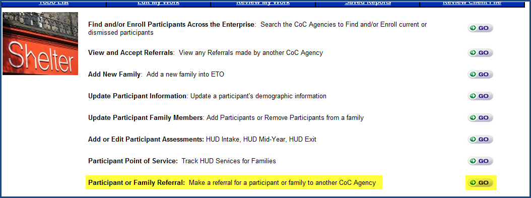 Client/Family Referrals Within ETO HMIS, you can make different types of Client Referrals: 1. Refer a client to an outside agency (Entity) for additional services. 2.