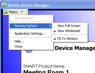 To change the size of your shared desktop using the Mobile Device Manager window 1. Connect your laptop to the interactive product (see page 18). 2.