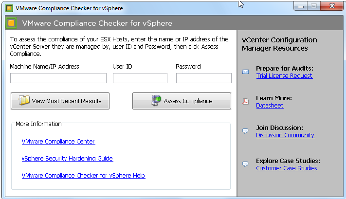 Security Baseline Tools Control Compliance Tools VMware Compliance Checker for