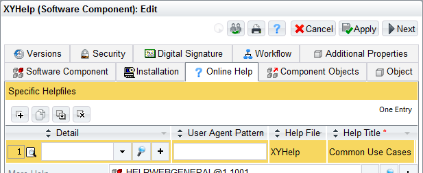 6. Edit the properties of the software component. The links to CHM files are specified on the Online Help tab in the Specific Help Files field. Create a new line.