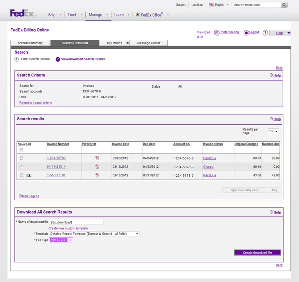 7.3 Search Results Depending on the type of report results, you will have a number of options available. option at the top of the screen in the FedEx Billing Online navigation bar.