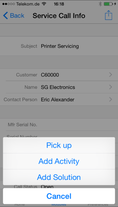 to scan a serial number Process Service Calls Handle service activities, from picking up to closing a service call, and track