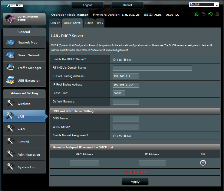 Configuring the Advanced settings Advanced Setting allows you to configure the advanced features of your wireless router.