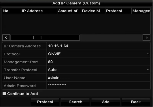 2) You can edit the IP address, protocol, management port, and other information of the IP camera to be added. 3) Click Add to add the camera.