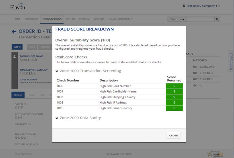 7.3.1 Suitability score screen The transaction score will be displayed in the transaction details, in the suitability score field.