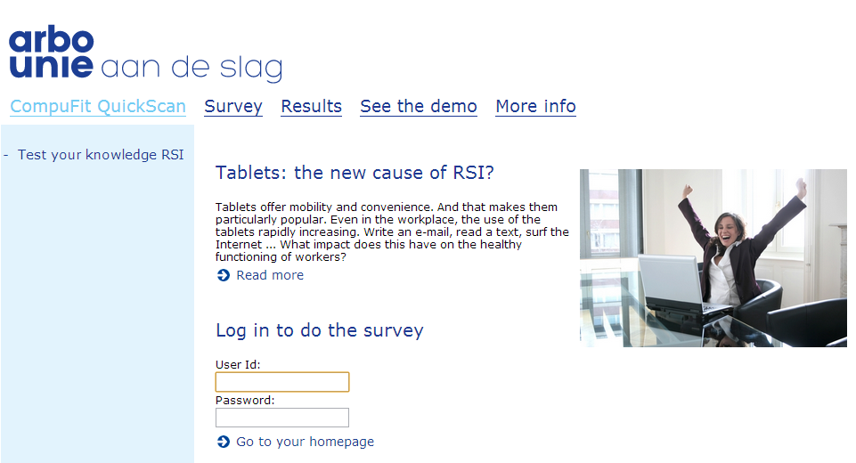 RSI Quick Scan Dutch tool to evaluate risk of RSI based on work/office