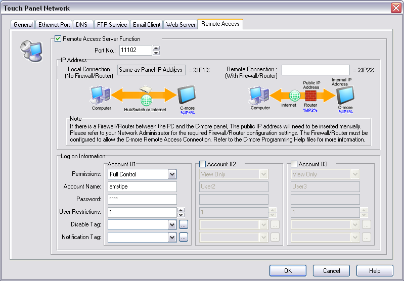 P a g e 5 Check the box labeled Remote Access Server Function Note: If you have a direct connection through a hub or switch then there are no changes necessary for the IP Address section.