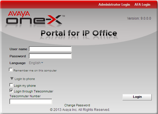 one-x Portal for IP Office: Logging In 5. Click Login.