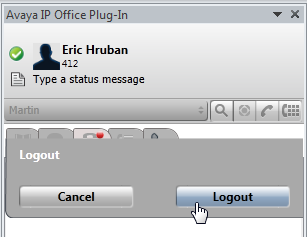 Avaya IP Office Plug-in for Microsoft Outlook : Logging in 12.4 Logging out To log out of one-x Portal for IP Office: 1.