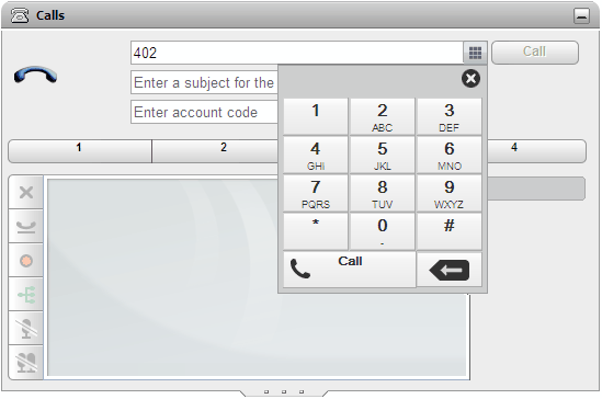 3.4.2... using the Dial Pad You can access a number dialing pad as part of the 1. Using the Calls gadget, click on the Calls gadget. dial pad icon. 2.