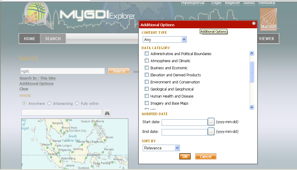 1. Metadata Search and Result The MyGDI Explorer provides a few options to search geospatial information.