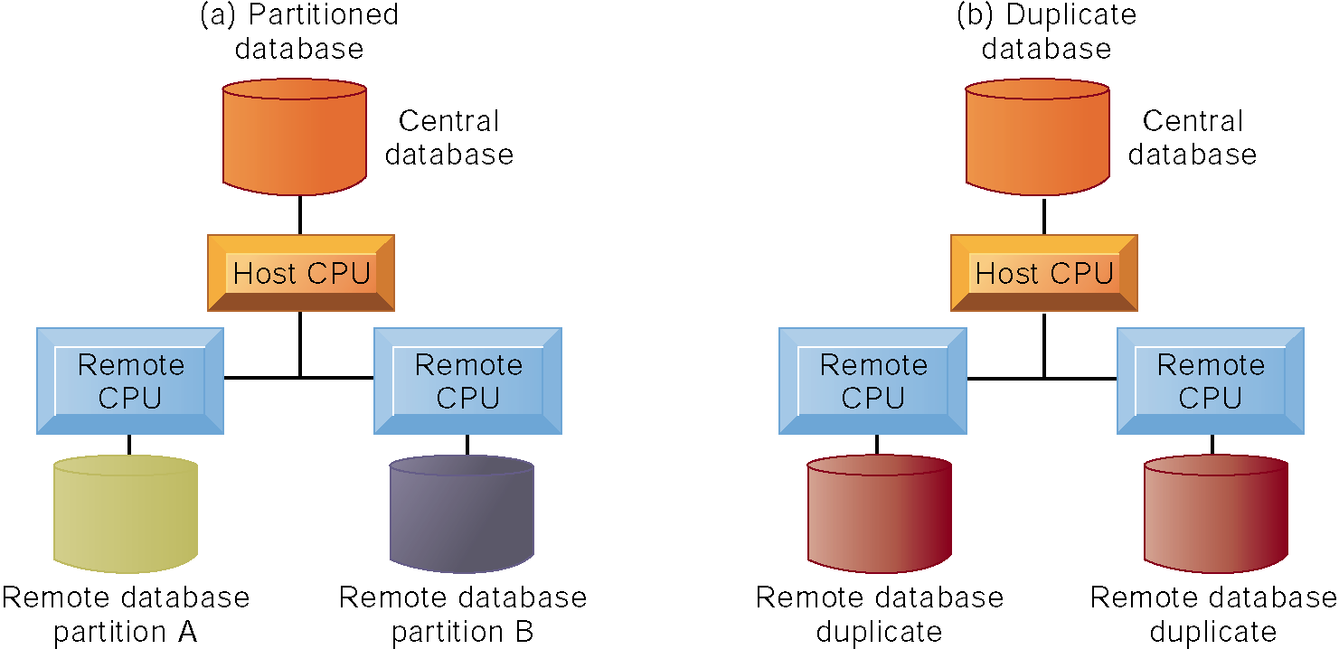 The Database Approach to Data Management Distributed Databases There are alternative ways of distributing a database.