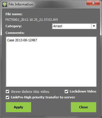 The File Information window will appear. Place a checkmark in LinkPro High priority transfer to server. Click the Apply button located in the lower left corner.