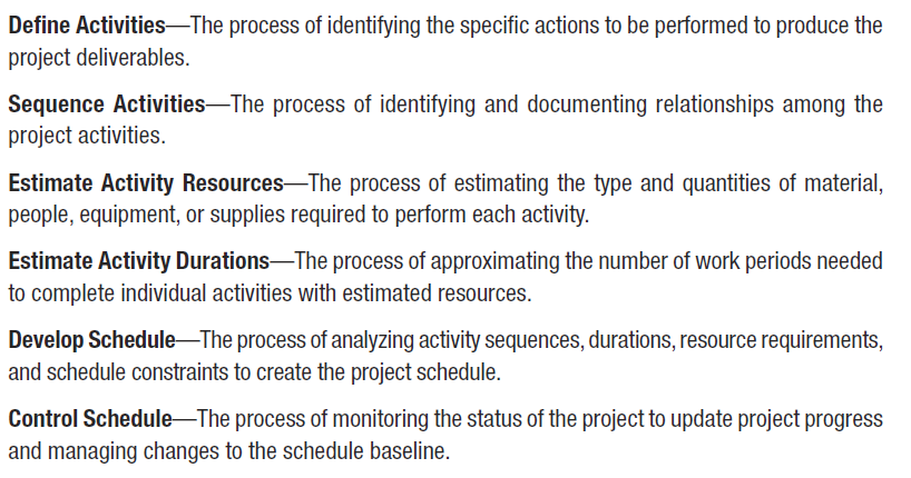 5 Time Management Time Management includes the processes required to manage the timely completion of the project.