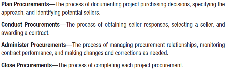 10 Procurement Management According to PMBOK, Procurement Management includes the processes necessary to purchase or acquire external products and services.