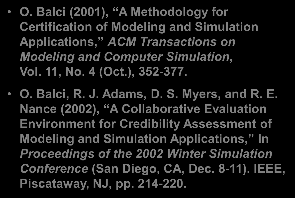 O. Balci (2001), A Methodology for Certification of Modeling and Simulation Applications, ACM Transactions on Modeling and Computer Simulation, Vol. 11, No. 4 (Oct.), 352-377. O. Balci, R. J.