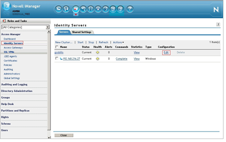 Add Nimsoft Service Desk as Trusted Service Provider in the Identity Provider Novell Access Manager: Manage Trusted Provider You can add Nimsoft Service Desk as trusted service provider in Novell
