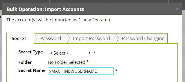 For Unix accounts, select the Password Type command set that will be used to take over the account.