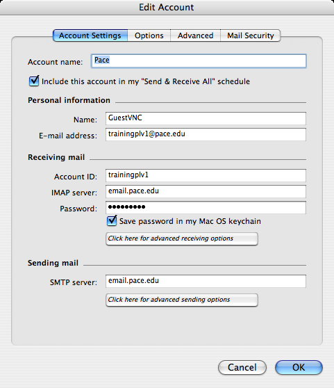 To set Receiving mail options: click Click here for advanced receiving options button click next to This IMAP service requires a secure connection (SSL) verify the override default IMAP port is 993