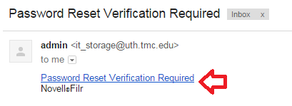 8. Open the email from it_storage@uth.tmc.edu with the subject Password Reset Verification Required.