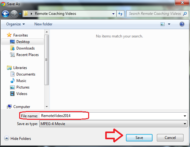 4. Once your Remote Coaching Videos folder is open