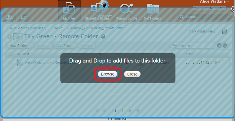 Step 3: Uploading Remote Teacher Videos 1. In your Secure Share Remote Teacher Folder, click the Add Files button. 2.