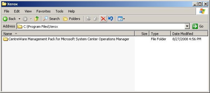 e. Go to My Computer>C:>Program Files. Open the Xerox folder. f. The CentreWare Management Pack for System Center Operations Manager folder is indicated. Open the folder.