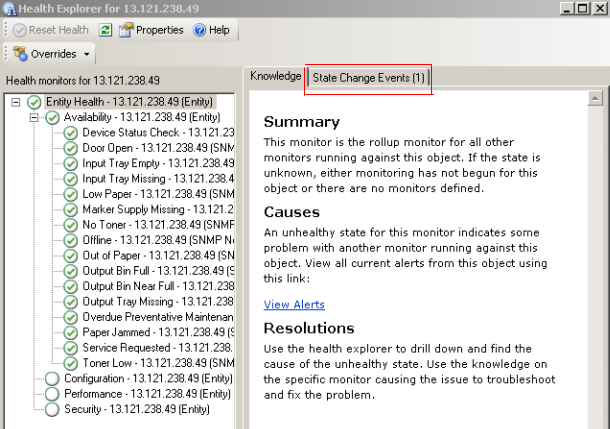 7. The State Change Events pane displays the timing details for each unit