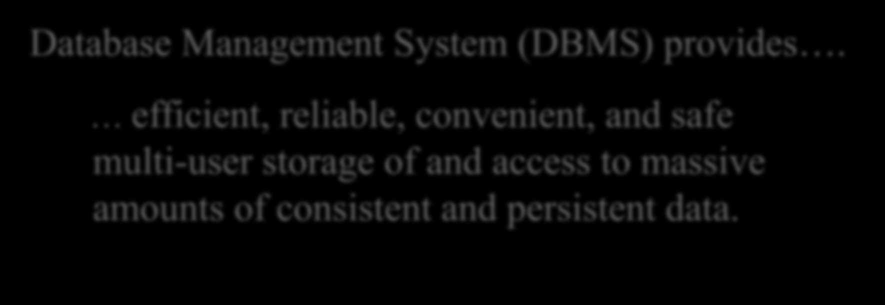 What does DBMS Do Well Database Management System (DBMS) provides.